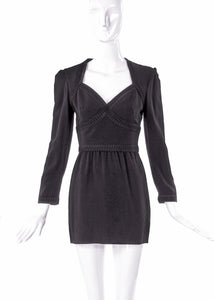 Louis Féraud Black Long Sleeve Mini Dress with Braid Trim - BOUTIQUE PURCHASE PRICE