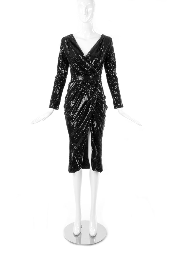 Vintage Black Sequin Long Sleeved Wrap Draped Dress