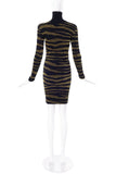 Vintage Black and Gold Lurex Zebra Tiger Print Sweater Dress