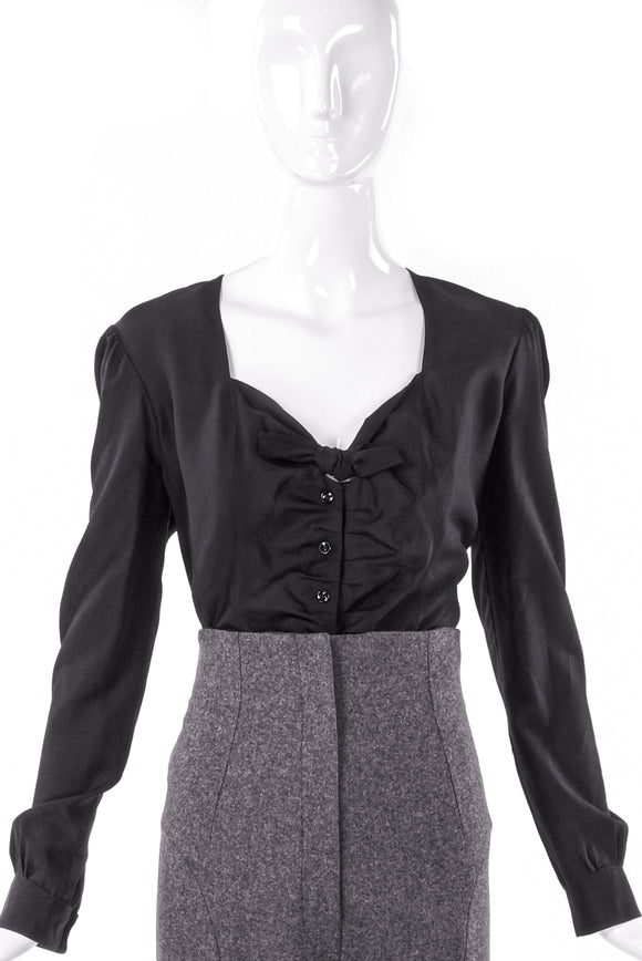 Yves Saint Laurent Black Ruffle Tie Sweetheart Neckline Top - BOUTIQUE PURCHASE PRICE