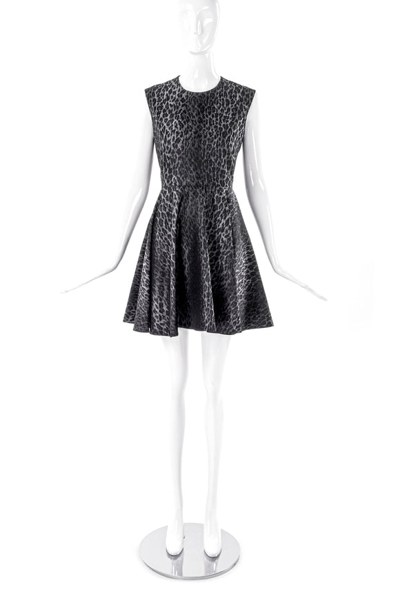 Giambattista Valli Grey Leopard Print Fit and Flare Dress - BOUTIQUE PURCHASE PRICE