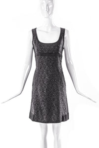 Miu Miu Black Shine Brocade Mini Shift Dress - BOUTIQUE PURCHASE PRICE