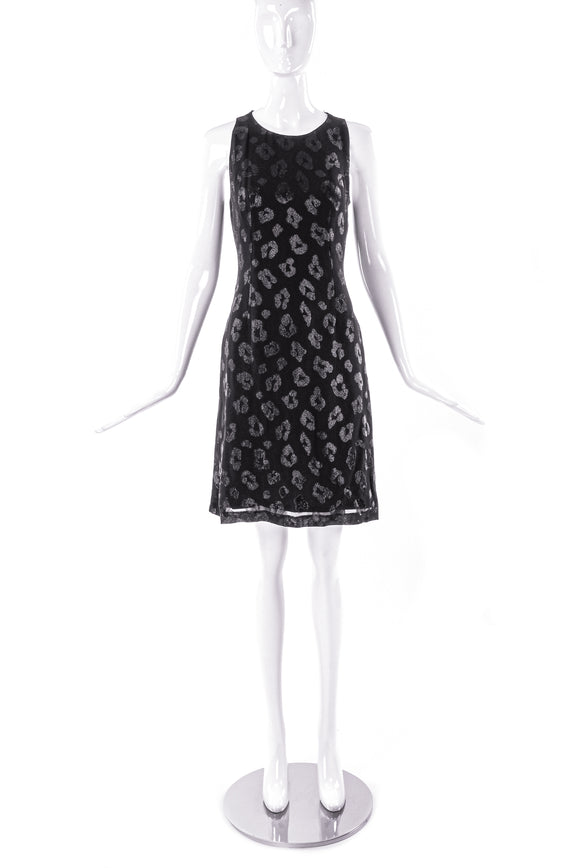 Versus by Gianni Versace Black with a Lurex Leopard Paw Prints Dress - BOUTIQUE PURCHASE PRICE