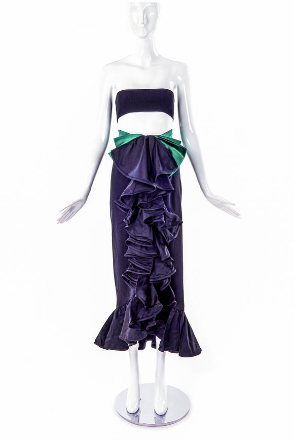 Valentino Night Black Satin Ruffle Skirt with Emerald Satin Bow
