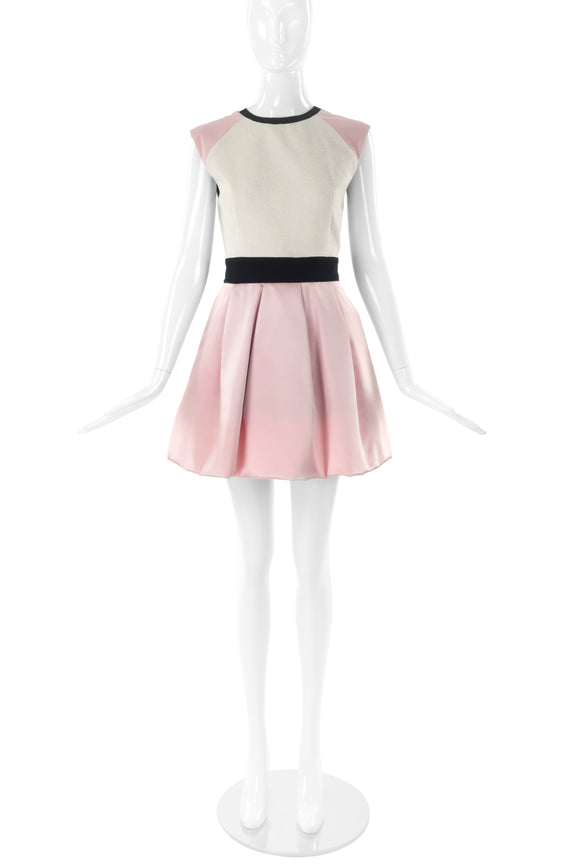 Fausto Puglisi Cream and Pink Satin Fit and Flare Dress