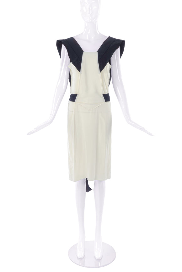 Miu Miu Cream Shift Dress with Black Structured Shoulder Details SS2006 - BOUTIQUE PURCHASE PRICE