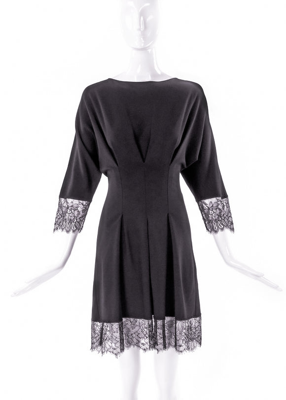 Francesco Scognamiglio Fit and Flare Black Dress with Lace - BOUTIQUE PURCHASE PRICE