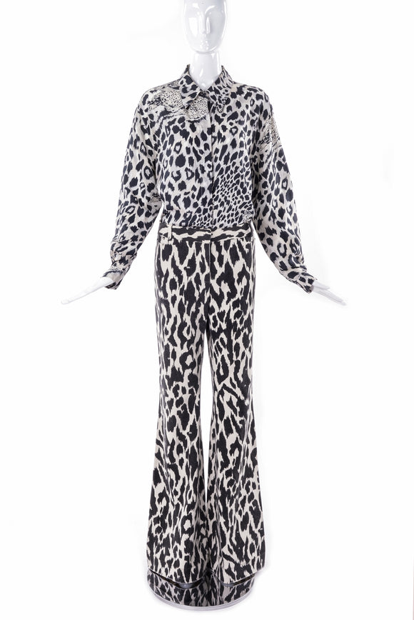 Céline Black and Ivory Abstract Animal Print Wide Leg Trouser