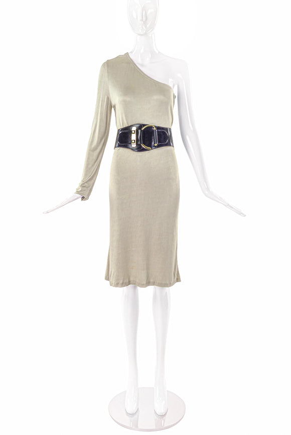 Gucci by Tom Ford Beige Silk Jersey One Shoulder