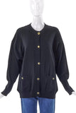 Chanel Black Wool Classic Cardigan with Gold Interlocked CC Buttons