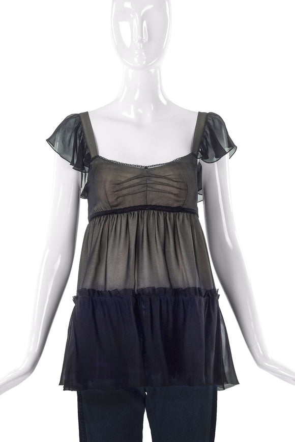 D&G by Dolce & Gabbana Black Chiffon Baby Doll Top - BOUTIQUE PURCHASE PRICE
