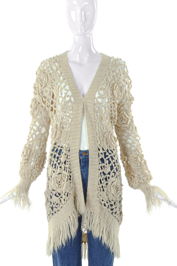 Fiorucci Cream Floral Oversized Crochet Cardigan with Fringe - BOUTIQUE PURCHASE PRICE