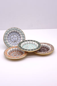 Four Vintage Japanese Porcelain Mosaic Tile Dishes with Gold Metal Back.