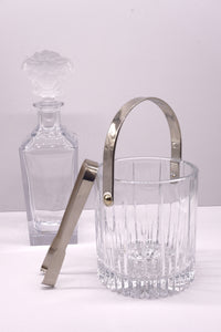 Vintage Crystal Glass and Chrome Ice Bucket
