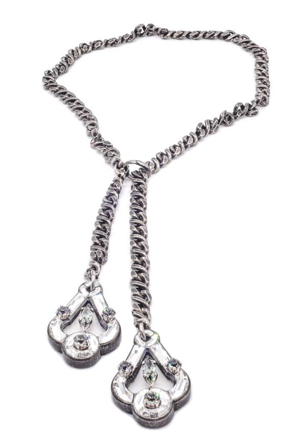 Lanvin Bolo Necklace with Small Mirror Pendants - BOUTIQUE PURCHASE PRICE
