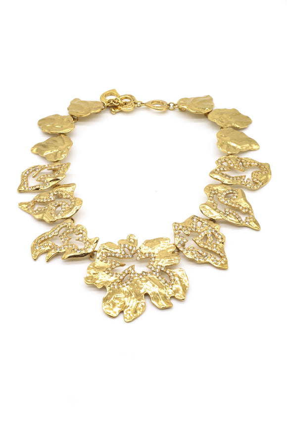 Yves Saint Laurent Gold and Diamond Leaf Necklace