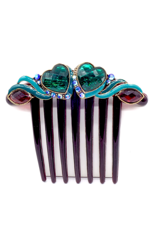 Vintage Hair Comb with Multi Color Rhinestones
