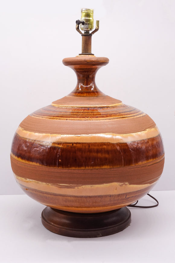Massive Vintage Earthenware Pottery Lamp with Swirl Glazing