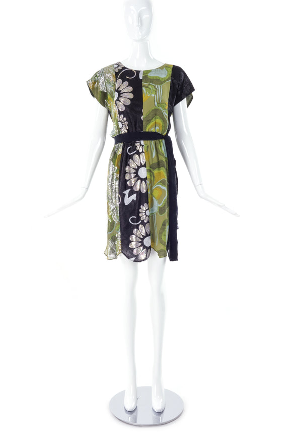 Anna Sui Green Lame and Black Sequin Floral Day Dress