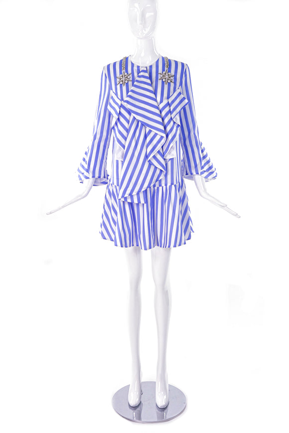 Francesco Scognamiglio Blue and White Cotton Day Dress with Crystal and Pearl Star Details - BOUTIQUE PURCHASE PRICE
