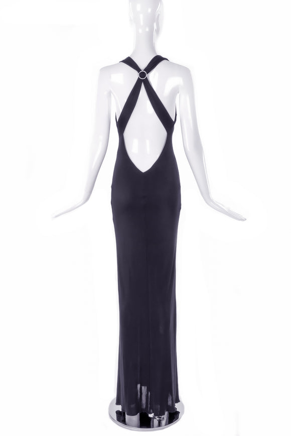 Versus by Gianni Versace Black Bias Cut Gown with Diamond Buckle Low Cut Criss Cross Back 90's