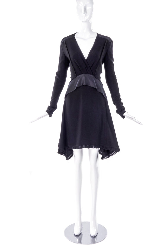 Balenciaga Black Silk Crepe Long Sleeve Dress with Satin Tier Detail