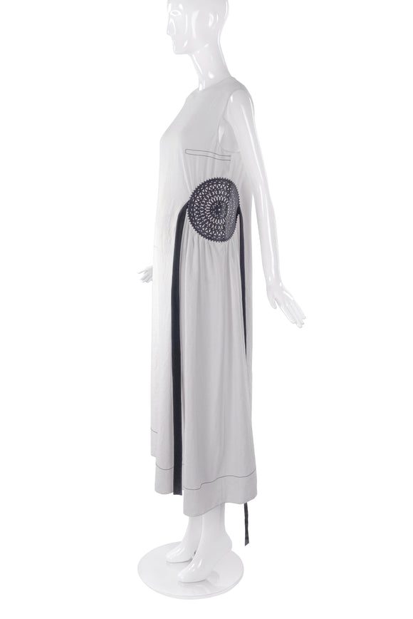 Loewe White Creme Linen Dress with Circular Leather Stencil Detail and Hanging Ribbon - BOUTIQUE PURCHASE PRICE