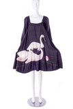 Sonia Rykiel Black Striped A Line Swan Dress