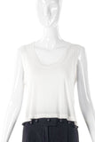 Sonia Rykiel White Cotton Tank Top with Black Glass Beads - BOUTIQUE PURCHASE PRICE