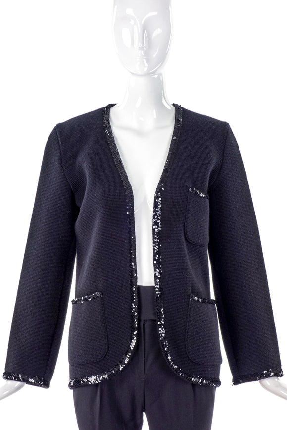 Yves Saint Laurent Tricot Rib Knit Cardigan with Sequin Trim - BOUTIQUE PURCHASE PRICE
