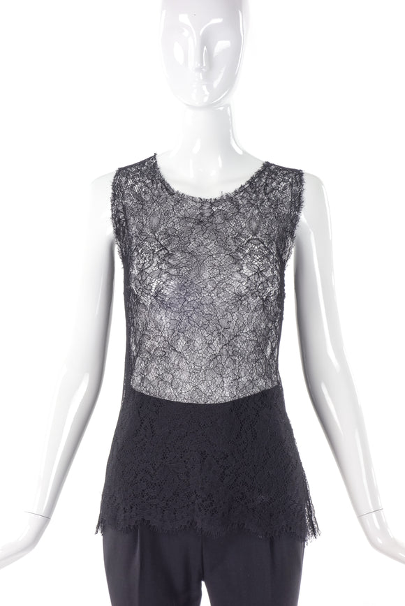 Yves Saint Laurent Double Layer Chantilly Lace Tank Top