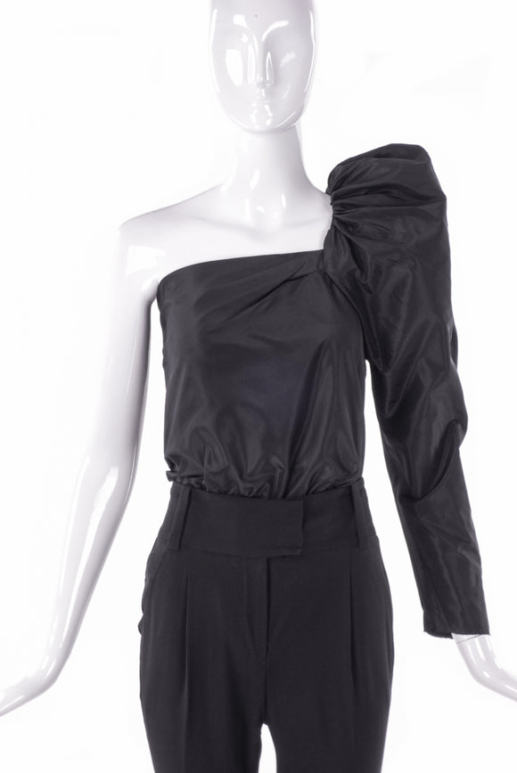 Lanvin Asymmetric One Shoulder One Sleeve Puff Top