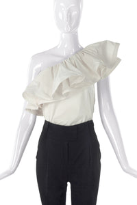 Lanvin One Shoulder Ruffle Top