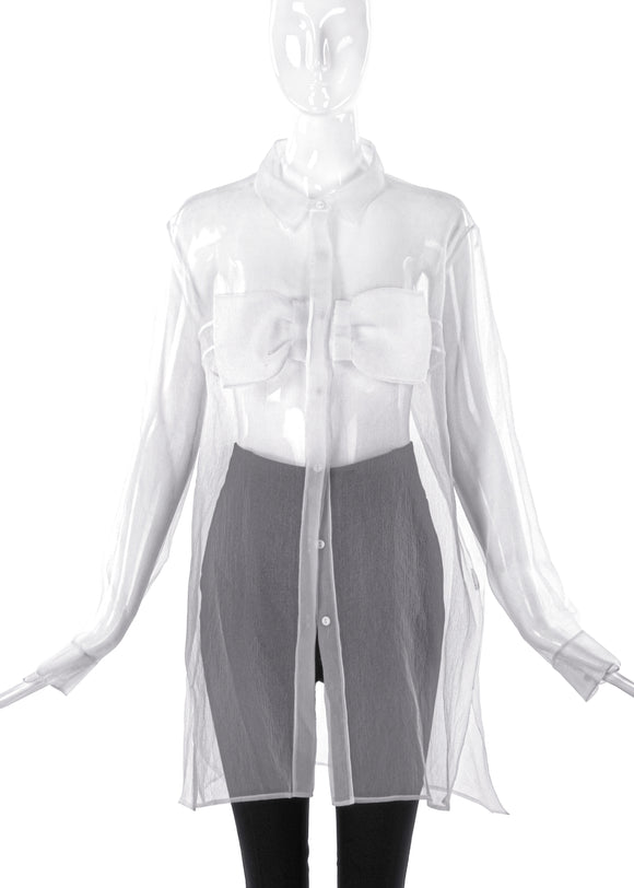 Christopher Kane Oversized Sheer Button- Up Blouse with Bow - BOUTIQUE PURCHASE PRICE