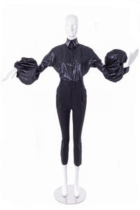 "Boudicca Black Shine ""Trash Bag"" Blouse with Sculptural Balloon Sleeve FW2005"