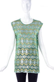Lanvin Green and Gold Lamé Textured Tunic SS2014 - BOUTIQUE PURCHASE PRICE