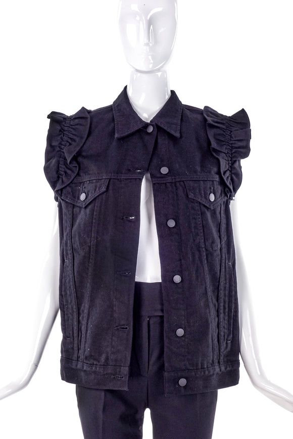 Simone Rocha X J Brand Denim Vest with Shoulder Ruffles - BOUTIQUE PURCHASE PRICE