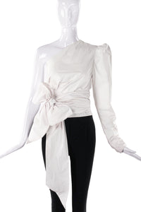 Alexandre Vauthier One Shoulder White Wrap Top with Bow and a Puff Sleeve - BOUTIQUE PURCHASE PRICE