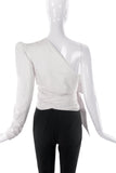 Alexandre Vauthier One Shoulder White Shirt Wrap Bow & Puff Sleeve