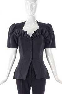 Vicky Tiel Couture Ruffled Heart Neckline Skirt Suit - BOUTIQUE PURCHASE PRICE
