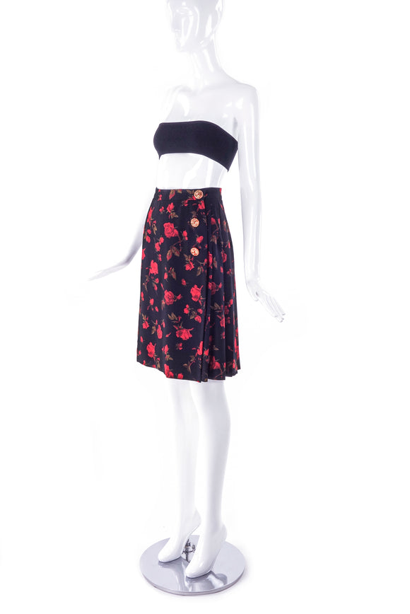 Yves Saint Laurent Rose Print Wrap Skirt - BOUTIQUE PURCHASE PRICE