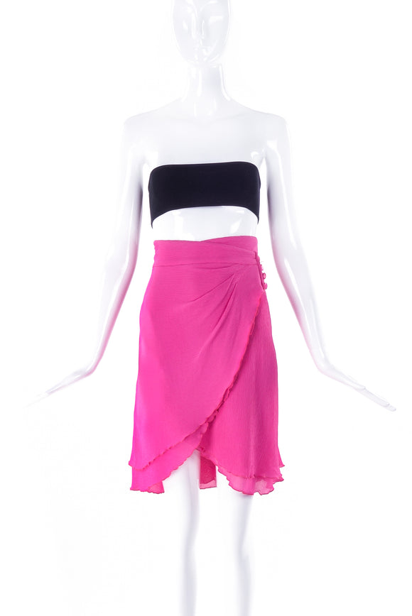 Emanuel Ungaro Silk Crepe Chiffon Bubblegum Pink Wrap Skirt - BOUTIQUE PURCHASE PRICE