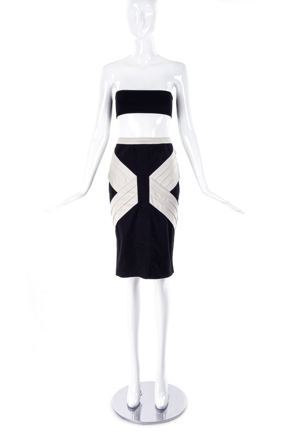 Thierry Mugler Black Pencil Skirt with Graphic Pleating Details