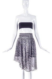 Preen by Thornton Bregazzi Grey Chiffon and Lurex Mulit Print Floral and Star PrintAsymmetrical Skirt - BOUTIQUE PURCHASE PRICE