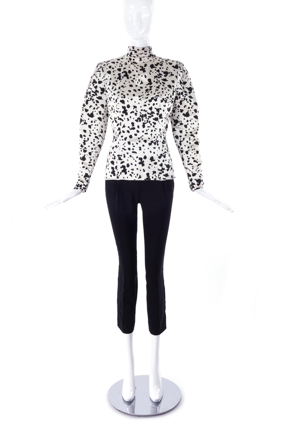Pauline Trigère Black and White Satin Fitted Blouse - BOUTIQUE PURCHASE PRICE