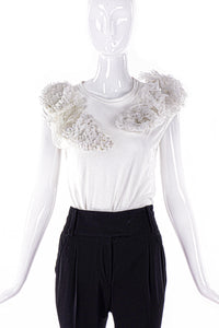 Comme Des Garçons White T-shirt with Tulle Ruffles - BOUTIQUE PURCHASE PRICE