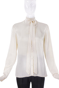 Balenciaga Ivory Wrinkle Silk Button-Up Bow Blouse