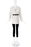 Miu Miu White Big Lapel Cotton Nylon Blazer - BOUTIQUE PURCHASE PRICE