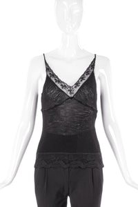 Balenciaga Lace Ribbed Tank Top