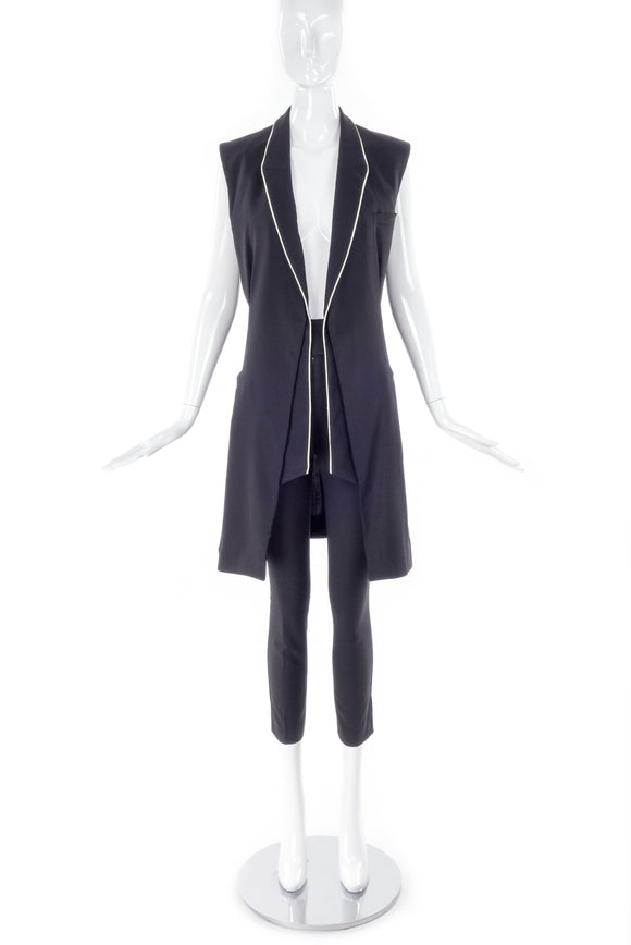Balenciaga by Nicolas Ghesquière Black Vest with White Piping Spring 2007